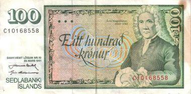 Árni Magnússon á gamla 100 krónu seðlinum.