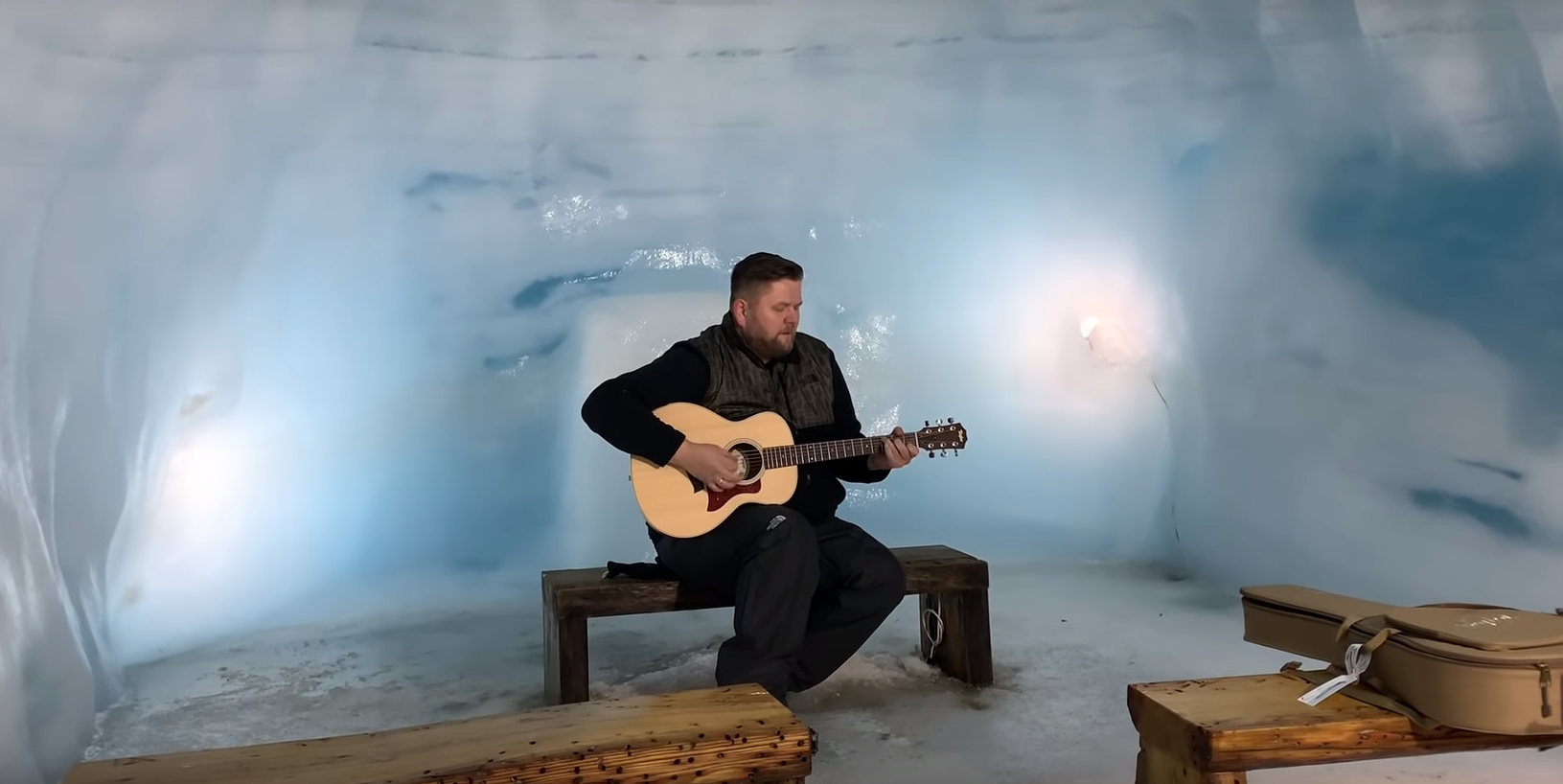Matti Matt tók ótrúlega ábreiðu af Shallow inn í Langjökli – Myndband