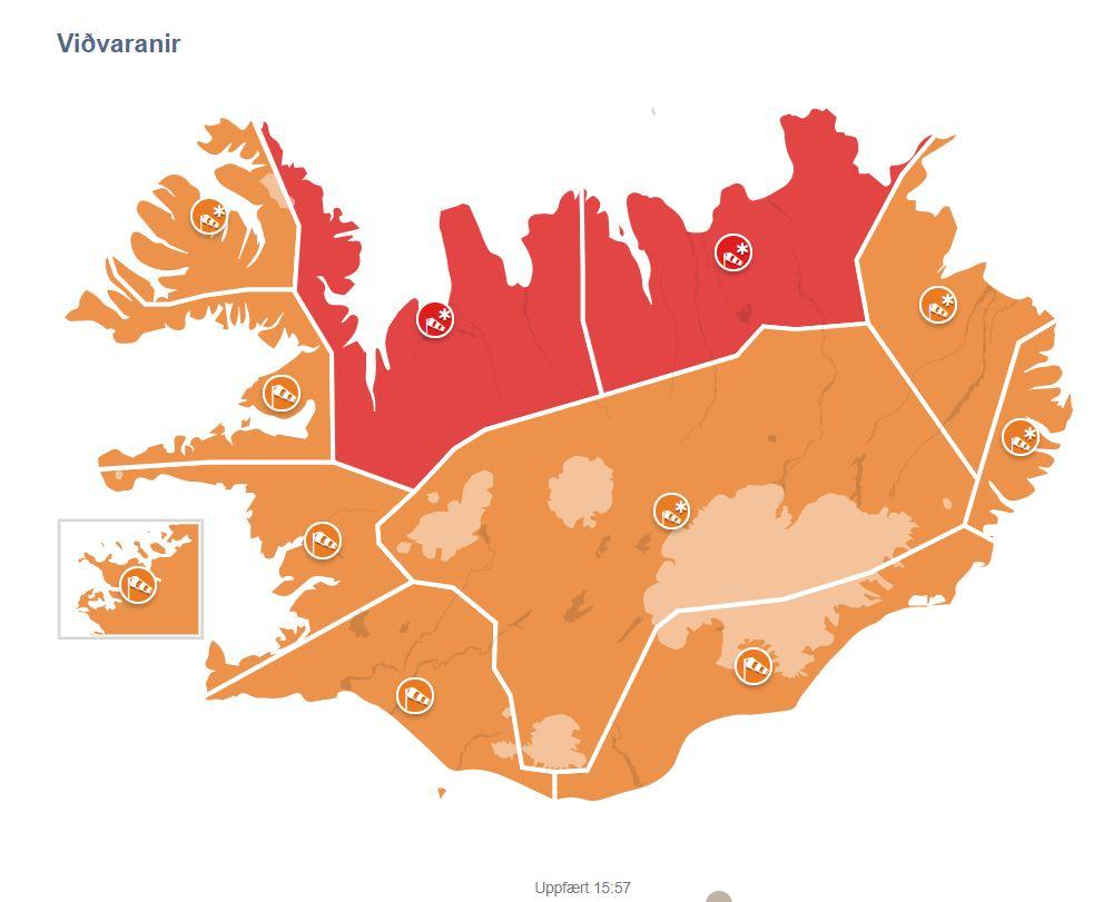 Rauð viðvörun sett á fyrir Norðurland Eystra