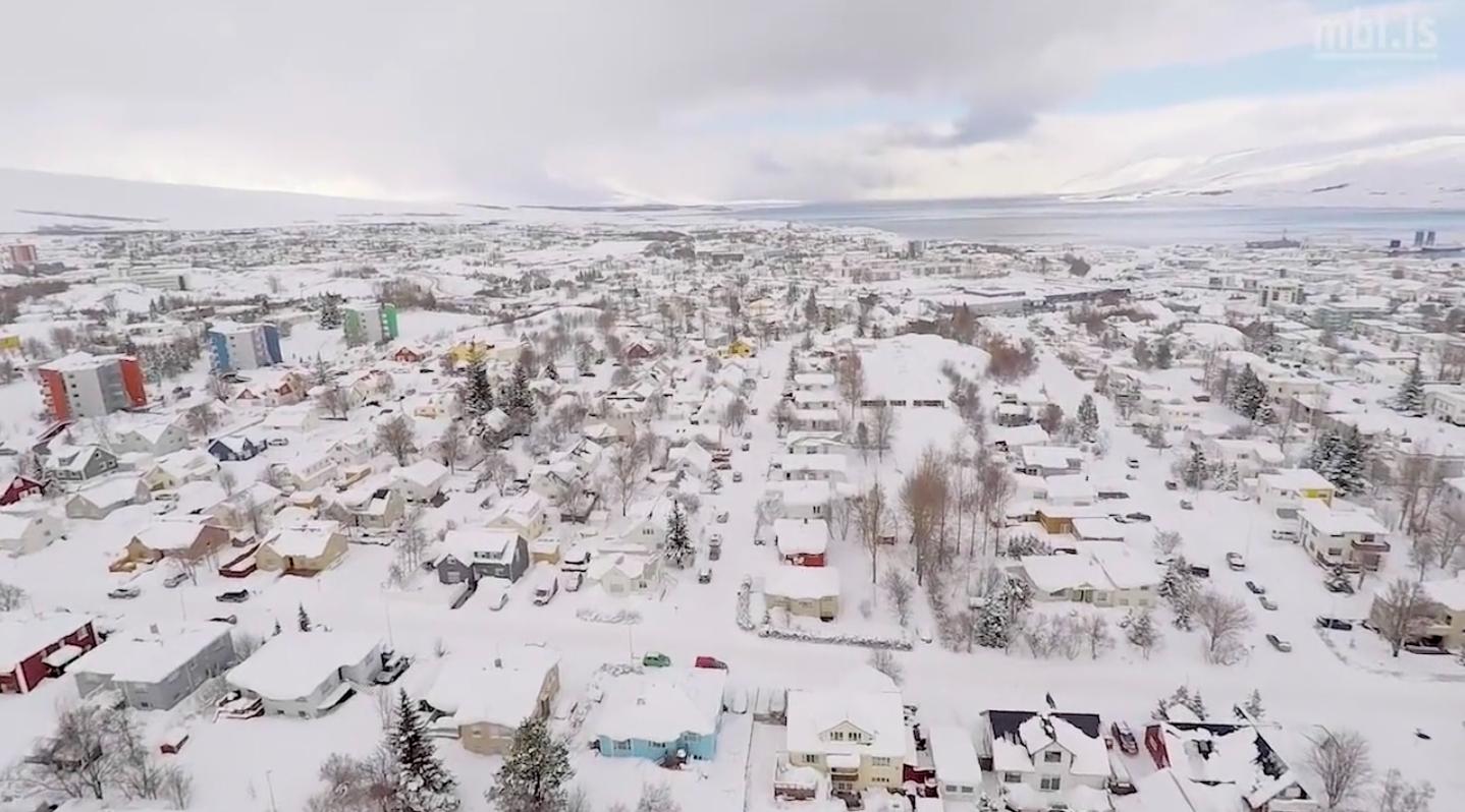 Magnað myndband af vetrarríkinu á Akureyri