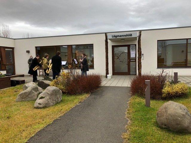 Saxófónkvartett lék fyrir íbúa Lögmannshlíðar