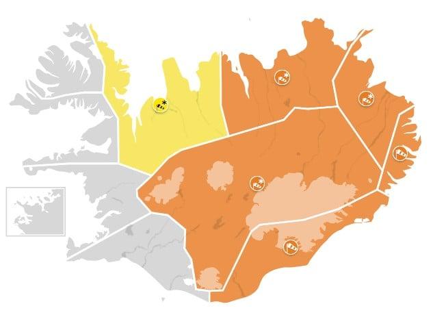 Appelsínugul viðvörun á Norðausturlandi