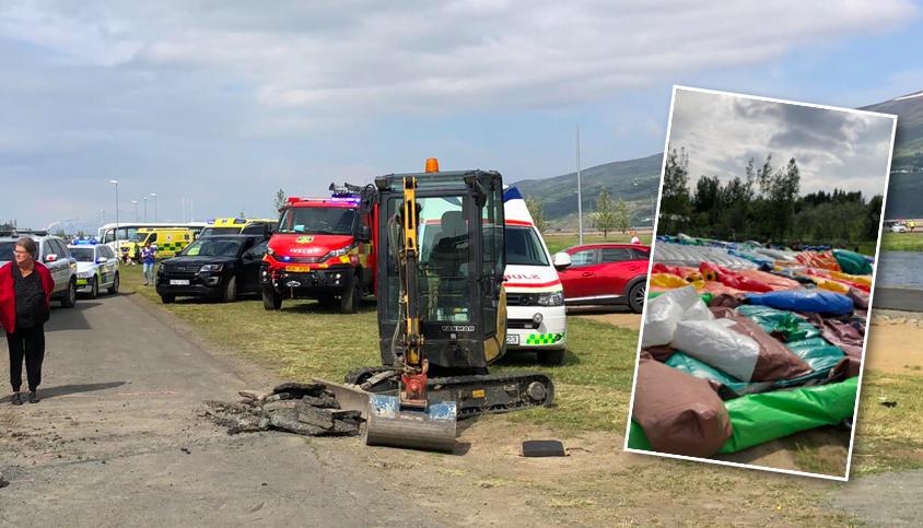 Hoppukastalinn við Skautahöllina tókst á loft á meðan að börn voru að leik